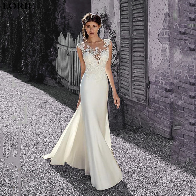 LORIE Lace Mermaid Wedding Dresses Sexy Sleeveless Appliqued 2020 Mermaid Illusion Bridal Gown Vestido De Voiva