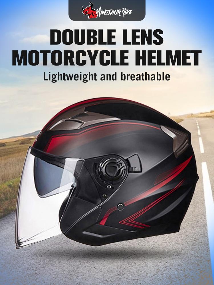 GXT Moto Helmet Visors Electric-Bicycle Open-Face Women Dual-Lens Summer