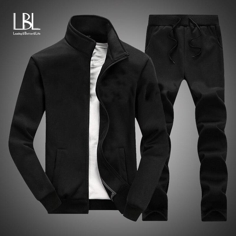 New Casual Tracksuit Men Autumn Zipper Jackets+Pants 2 Pieces Sets Male Slim Fit Sportswear Brand Fashion 2PCS Men's Solid Set