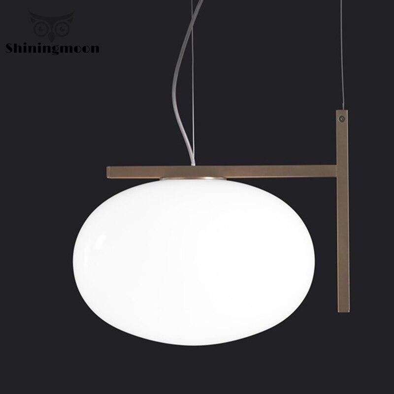 Nordic White Glass Pendant Lights Modern Art Deco Pendant Lamp Bar Cafe Shop Hanglamp Luminaire Suspension Gold Hanging Lights