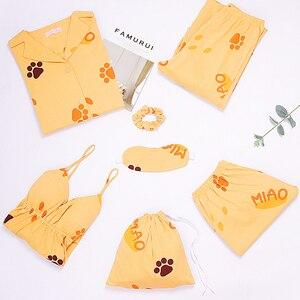 Image 2 - JRMISSLI 100% Cotton Wear Women Pajamas Set Loose Clothing Solid Sleepwear Autumn Plus Size 7 Piece Pajamas sets