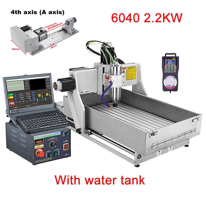 Industrielle CNC 6040 Gravur Maschine 3 Achsen 4 Achsen 2,2 KW CNC Router Mit Wasser Tank Für Option Mach3 Controller ER20 Sammelt