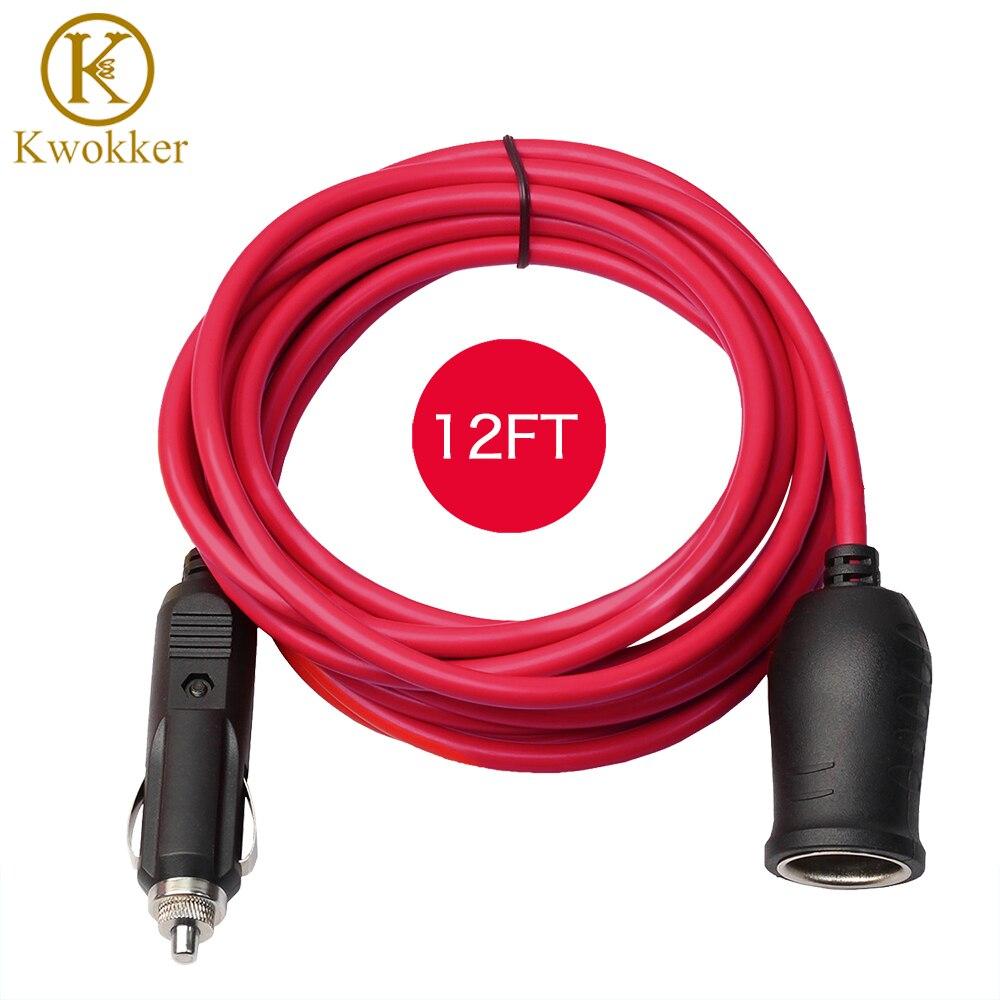 3.6M 12V/24V Cigarette Lighter Socket Charging Extension Cable Car Cigarette Lighter Plug Car Accessory 12FT Extended Cord