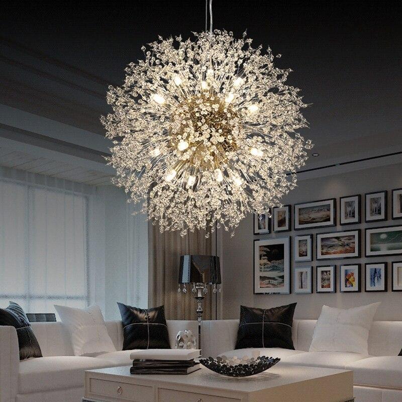 REFURBISHHOUSE Modern Crystal Chandelier Lighting Crystal Chandelier Lamp LED Hanging Lamp Dandelion Chandelier Restaurant Lamp