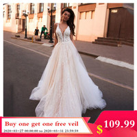 Smileven A Line Wedding Dress Glitter Boho Bridal Dresses V Neck arabic Vestido De Noiva Wedding Gowns For Girl Custom Made
