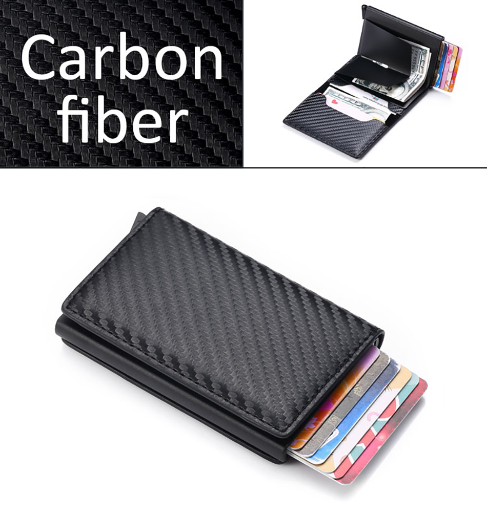 Ha3c5b7801d7f4915a97e971e9d97fdf9K - DIENQI Carbon Fiber Card Holder Wallets Men Brand Rfid Black Magic Trifold Leather Slim Mini Wallet Small Money Bag Male Purses