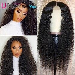 Unice Haar Mongolischen Lockiges Menschliches Haar Perücke Mit Pre Gezupft Haaransatz Für Frauen Remy 13*6 Lockige Spitze Front menschliches Haar Perücken