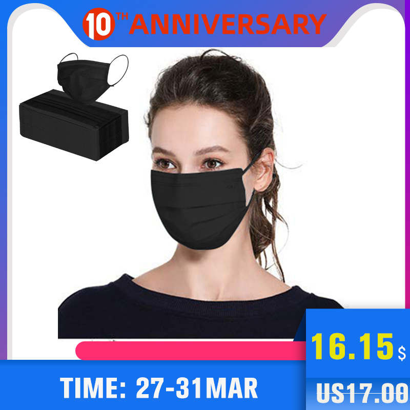 Scione Mouth Mask Disposable Black Cotton Mouth Face Masks Non-Woven Mask Anti-Dust Mask 3 Filter Activated Carb Anti Pollution