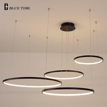 Arañas LED luces de Interior para el hogar para sala de estar comedor candelabro colgante brillante 5 anillos 4 anillos lámparas circulares