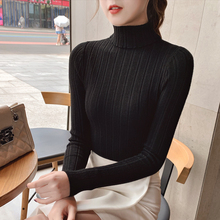 цена на Autumn Elastic Long Sleeve Sweaters Female Pullover Turtleneck Women Pullovers Jumper Streetwear Knitted Tops BLACK RED