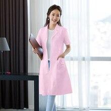 Nurse wear summer short-sleeved women white coat pharmacy overalls long-sleeved doctor men thin