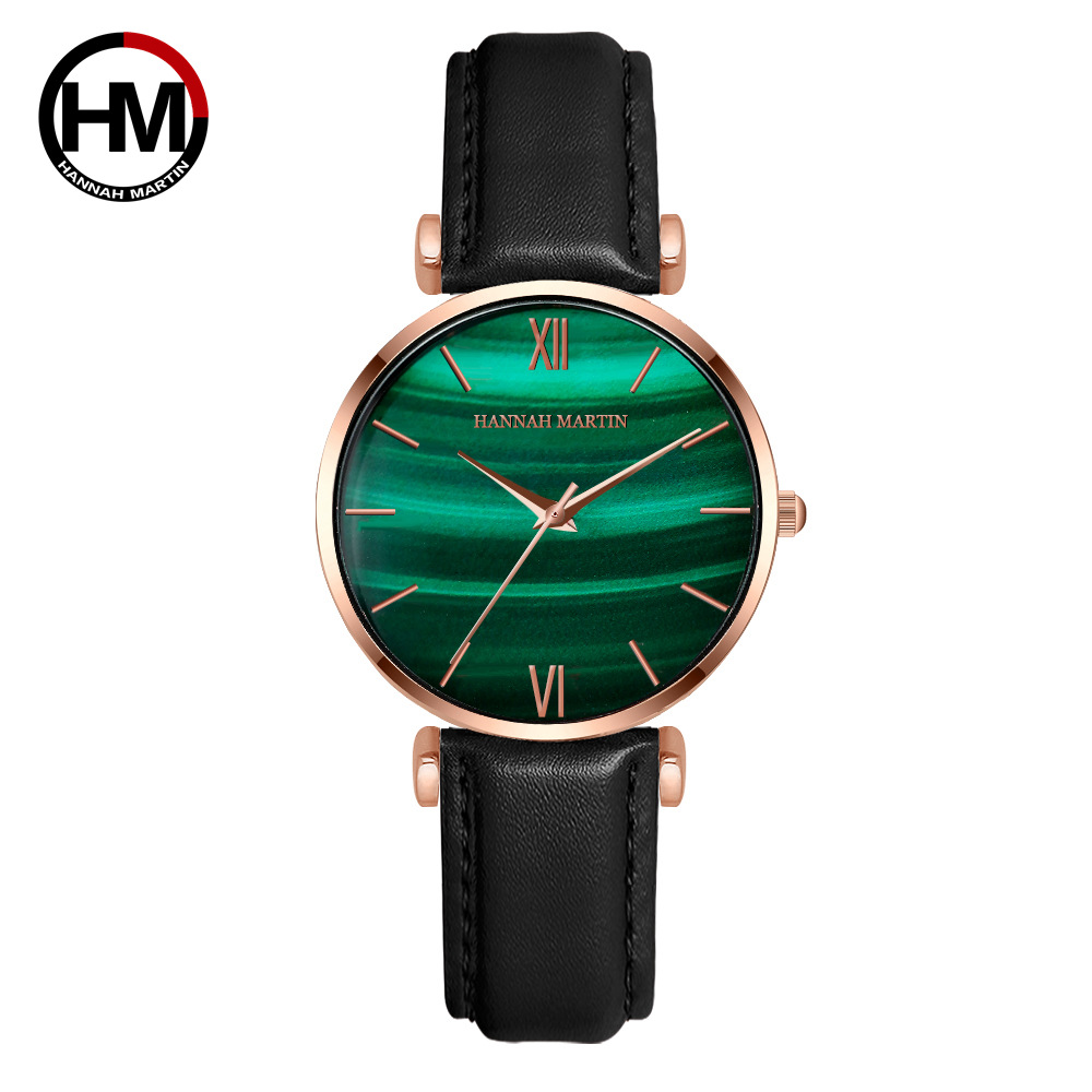 High Quality Hannah Martin Peacock Green Face Women Watch With Elegant 30m Waterproof Watch Wife Gift