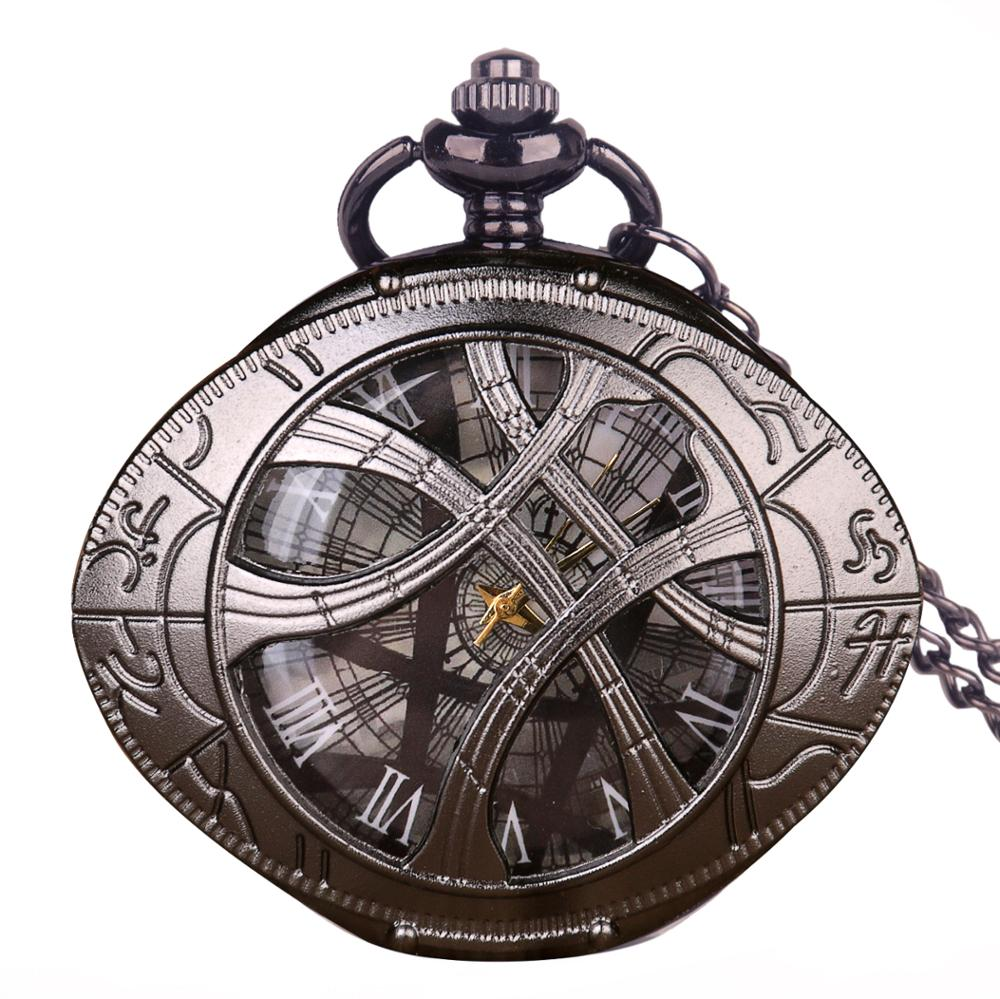 Quartz Pocket Watch Round Dial Pendant Exquisite Necklace Roman Numerals Black Watches With Chain Gifts Men Women Kids