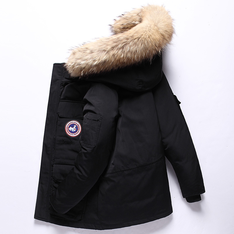 Winter Youth MEN'S Down Jacket Short China Goose White Duck Down Hooded Thick Down Jacket Men's