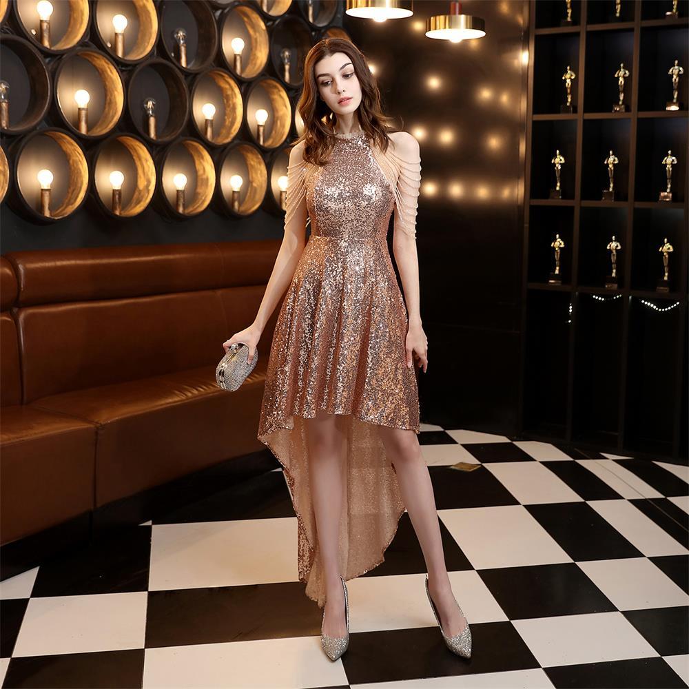 Tassel Sleeveless Gold Elegant Cocktail Party Dress Shinning Sequin Halter-neck Robe De Soriee Short Front Long Back Party Gowns
