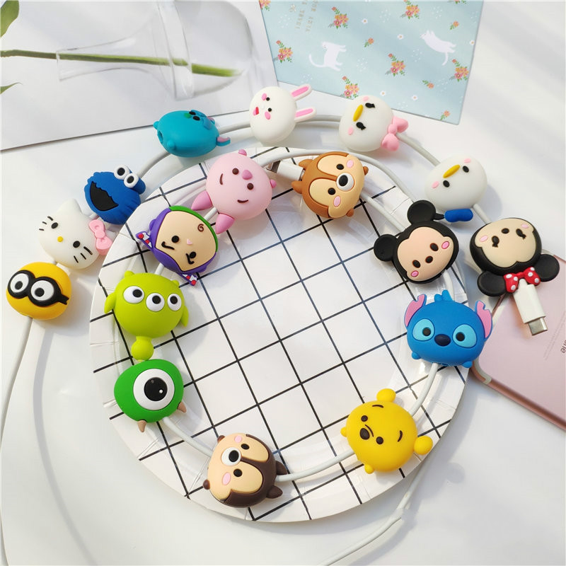 Image 3 - Cartoon Figure Cable Protector for IPhone Lightning Type C Micro USB TSUM Data Line Silicone Winder for Samsung Xiaomi Huawei-in Mobile Phone Straps from Cellphones & Telecommunications