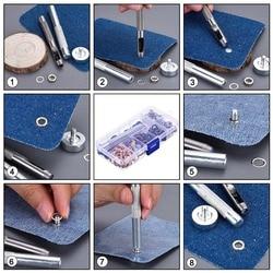 1/4 Cal przelotka zestaw 200 zestawów przelotki oczka z 3 sztuk narzędzie do instalacji Kit (4 kolory) zatrzask metalowy na przyciski zestaw zatrzaski W|Skoble|   -