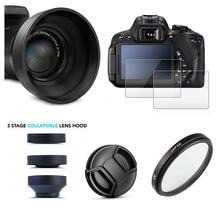 UV filtre Lens Hood + kap + cam LCD koruyucu için Nikon Coolpix P900 P900s P950 P1000 dijital kamera