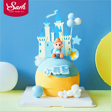 Castle Star Balloons Little Prince Boys Happy Birthday Cake Topper Princess Kid Party Supplies Blue Love Gifts