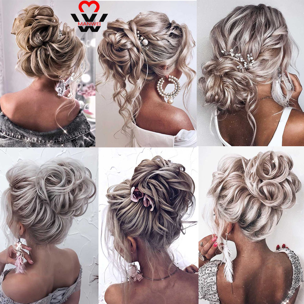 MANWEI Synthetic Flexible Hair Buns Curly Scrunchy Chignon Elastic Messy Wavy Scrunchies Wrap For Ponytail Rubber Band Hair Exte