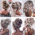 MANWEI синтетические гибкие пучки для волос, вьющиеся шиньоны, эластичные волнистые шиньоны для конского хвоста, резинка для волос