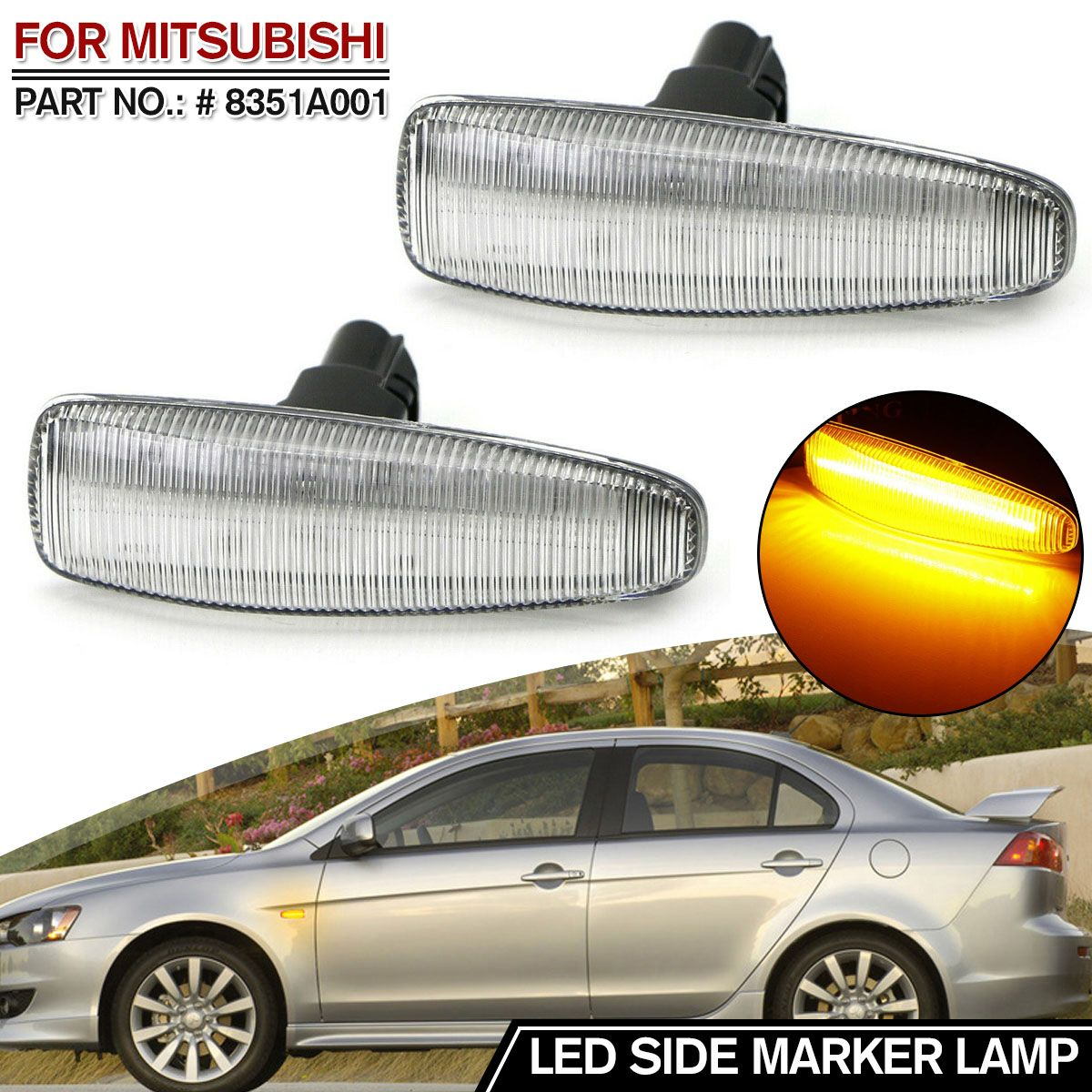 2 pieces Amber <font><b>LED</b></font> Fenders Side Marker Turn Signal Lights Yellow 8351A001 For Mistubish for <font><b>Lancer</b></font> EVO <font><b>X</b></font> Smoke <font><b>LED</b></font> Light image