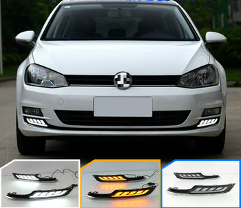 LED DRL Daytime Running Light Car Accessories ABS 12V Fog Lamp cover For VWVolkswagen Golf 7 2013 2014 2015 2016