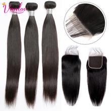 Vanlov 3 Bundles With Closure Peruvian Straight Hair Natural Color Human Hair Weave Bundles With Closure Remy Natural Jet Black