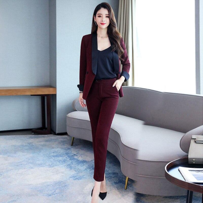 Women's Pants Suit Fashion OL Temperament Commuter Suit Suit Pencil Pants Two-piece Business Uniforms Professional Wear