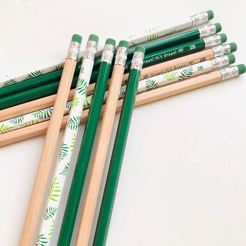 4X Green Style Standard Wood Pencil With Eraser Writing Drawing Student Stationery School Office Supply