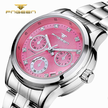 FNGEEN Luxury Women Watch Stainless Diamond Dial Auto Date Automatic