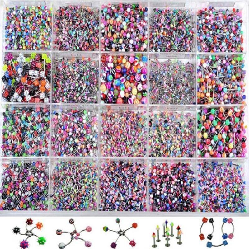 Piercing corporal multicolorido feminino, piercing de lábio, sobrancelha, barriga, anel sexy, vintage, 110 peças
