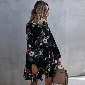 2021 New Autumn Winter Ruffles Print Dress Women O-neck Full Sleeve High Waist Floral Dress Female Casual Black 1