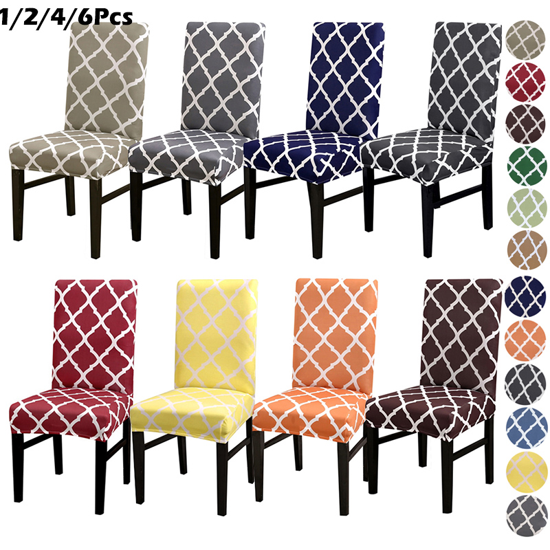 1/2/4/6pcs Stretch Seat Chair Covers Printed Elastic Chair Cover Spandex Slipcovers For Dining Room Wedding Banquet Hotel