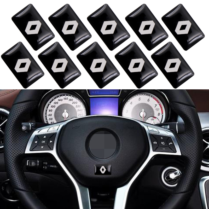 <font><b>10</b></font> <font><b>pcs</b></font>/lot, New Car styling small Decorative Badge Hub caps Steering wheel for <font><b>Renault</b></font> duster megane 2 logan Car Emblem Sticker image