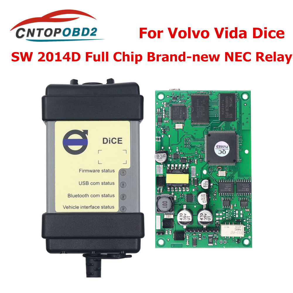Full Chip For Volvo Car Diagnostic Tool Vida Dice SW 2014D Dice Pro OBD2 Scanner For Volvo Cars Firmware Update Self Test OBD2