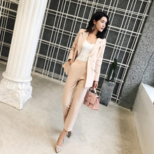 Casual 2 Pieces Set Women Pant Suits Notched Collar Blazer Jacket & Ankle-length Pants OL Female Suits 2020 Autumn PV34(China)