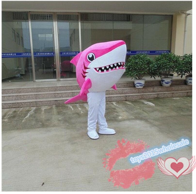 Costume de mascotte de requin rose taille adulte robe fantaisie tenue de publicité Cosplay vêtements à vendre défilé de bande dessinée Animal océan unisexe