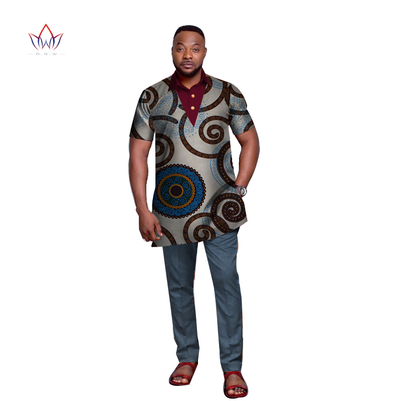 Bazin Riche Men African Clothes African Design Clothing Casual Mens Top Shirts Short Sleeve T Shirt Traditional Clothing WYN666