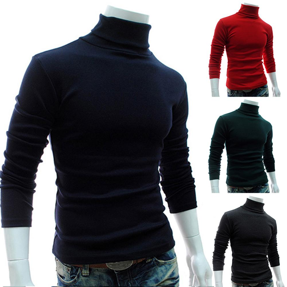 Autumn Men Solid Color Turtle Necks Long Sleeve Sweater Sliming Knitted Pullover Top The Man  Clothing Sweater 2019 Hot