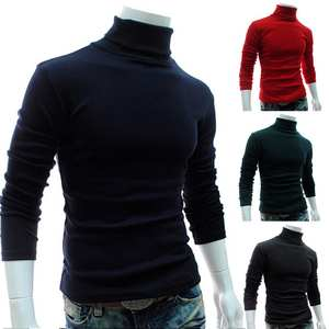 Man Clothing Sweater Pullover Knitted Turtle Necks Solid-Color Long-Sleeve Autumn Men
