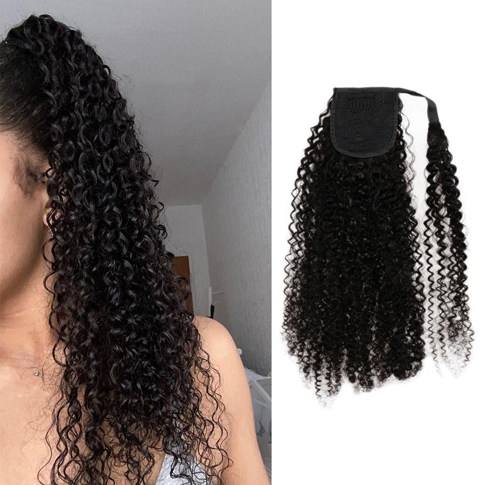 Ponytail Human Hair Curl Brazilian Human Hair Wrap Around Ponytail Clip In Ponytail Human Hair Extensions 100G/Set Remy Hair