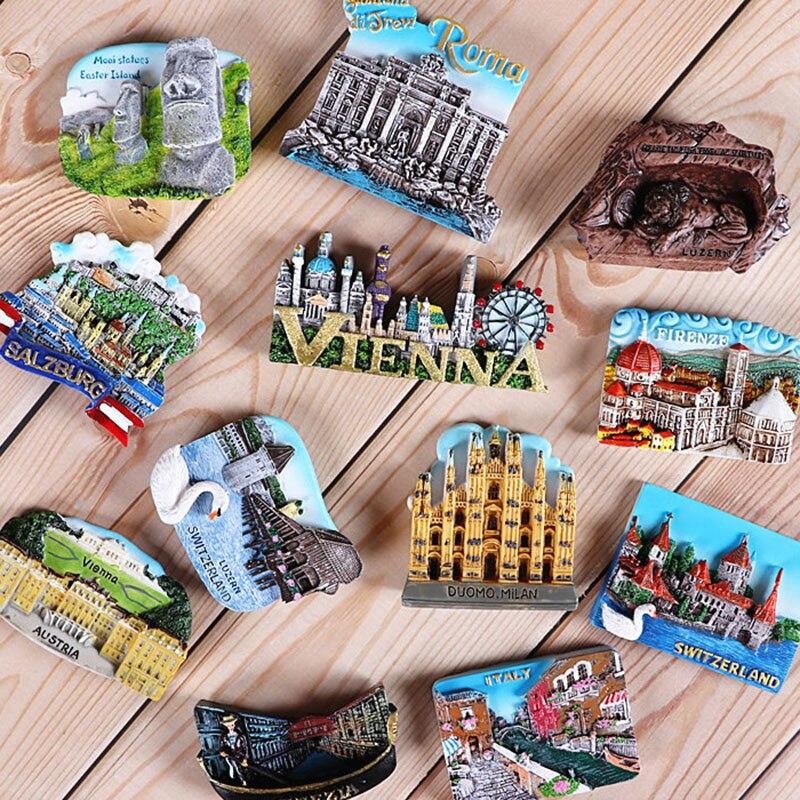 Travel abroad souvenir 3d fridge sticker Italy Switzerland Chile Austria foreign world country gift Tourist souvenir collection
