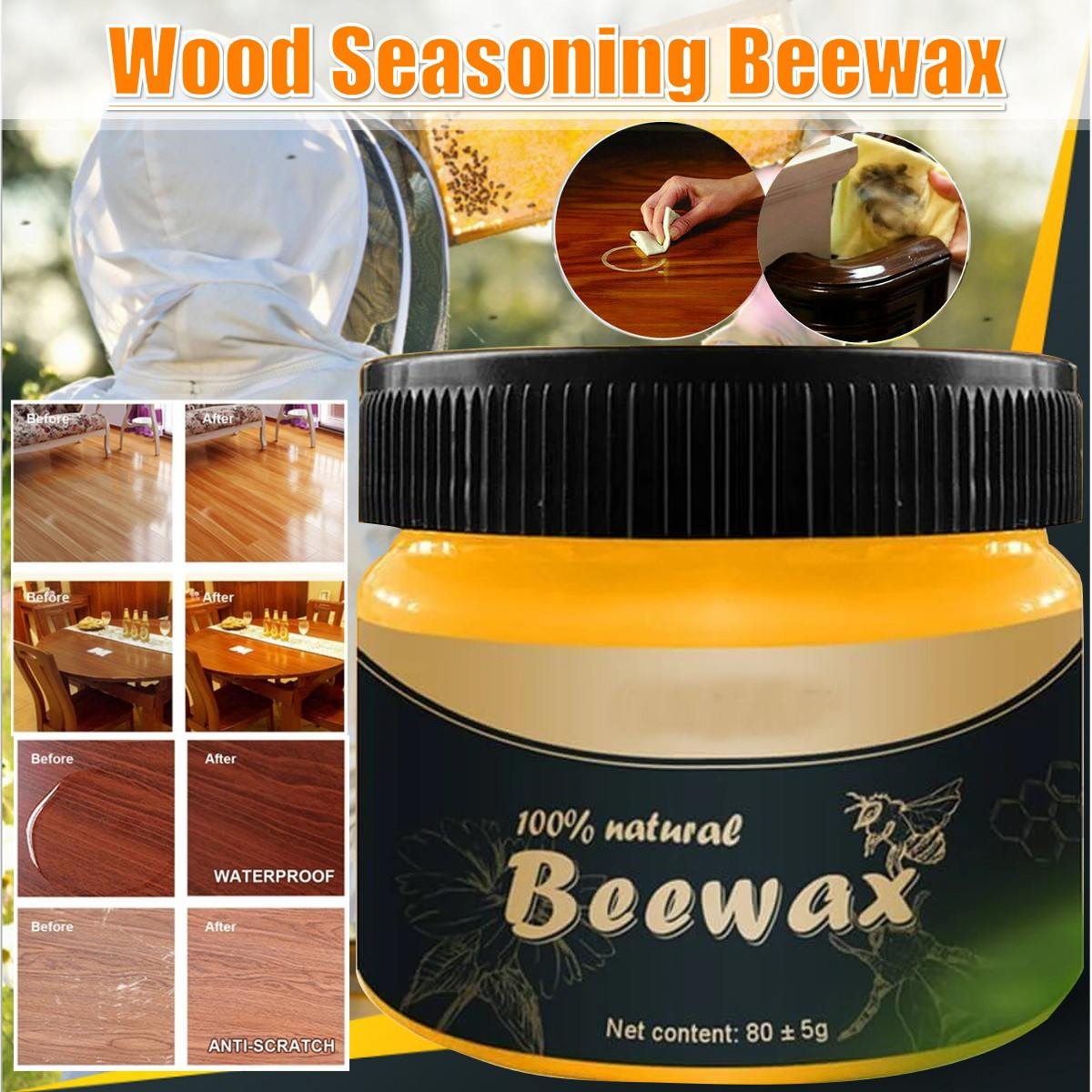 Organic Natural Pure Wax Wood Seasoning Beewax Furniture Care  Complete Solution Home Cleaning Polishing Home Supplies