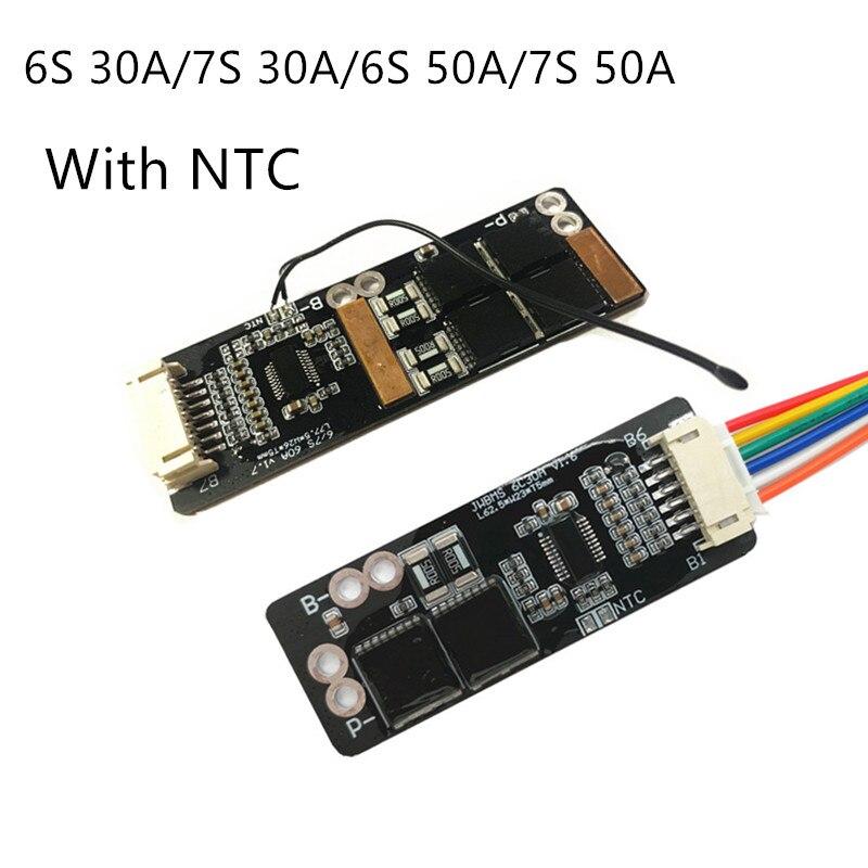 6 s 30a/7 s 30a/6 s 50a/7 s 50a bms placa com ntc para 3.7 v ternário bateria de lítio placa de proteção/bms 7 s/bms 6 s placa
