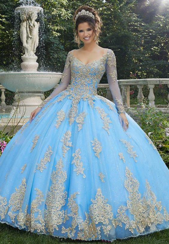 Ball Gown Quinceanera Dresses Long Sleeves Blue Sweet 16 Dress Robe vestidos de quinceaneras Lace V-neck Party Gowns