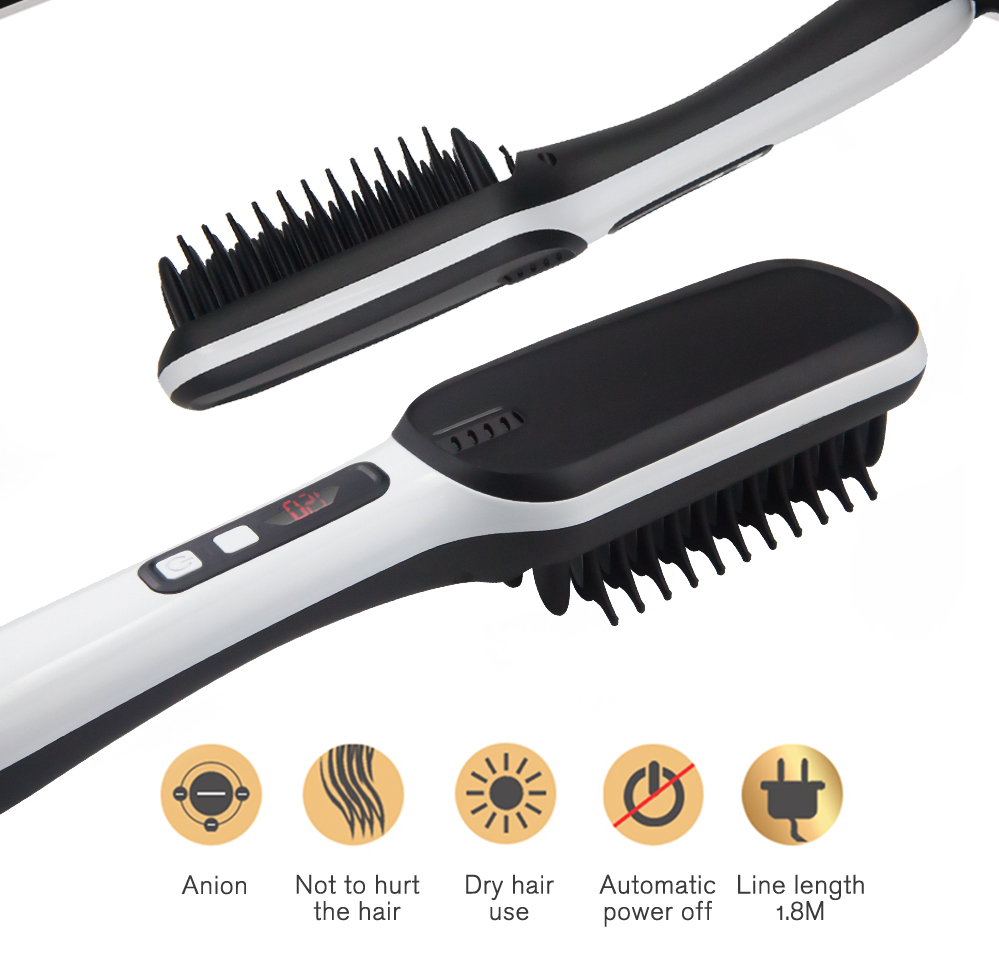 Hair Irons Professional Fast Universal Voltage Ceramic Electric Hair Straightening Brush Styling Tool Hair Straightener ET-16 image