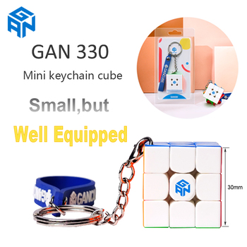 Original GAN330 Keychain cube gans 3x3 Mini 30mm Pocket Stickerless speed cube GAN 330 Puzzle Profissional Cube Educational Toy shengshou cube 2 x 2 x 2 mini cube black base fun educational toy