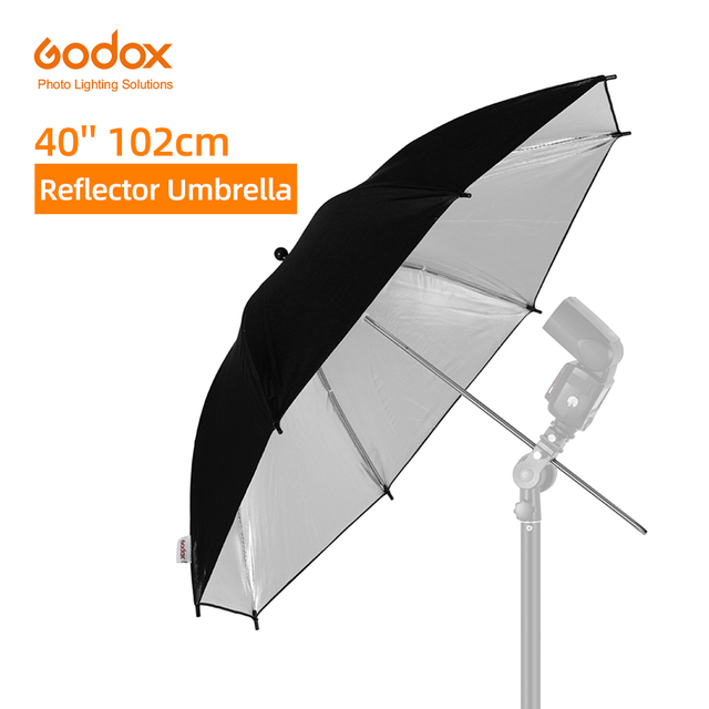 "Godox 40 ""102 سنتيمتر عاكس مظلة استوديو الصور ضوء فلاش محبب أسود فضي مظلة"