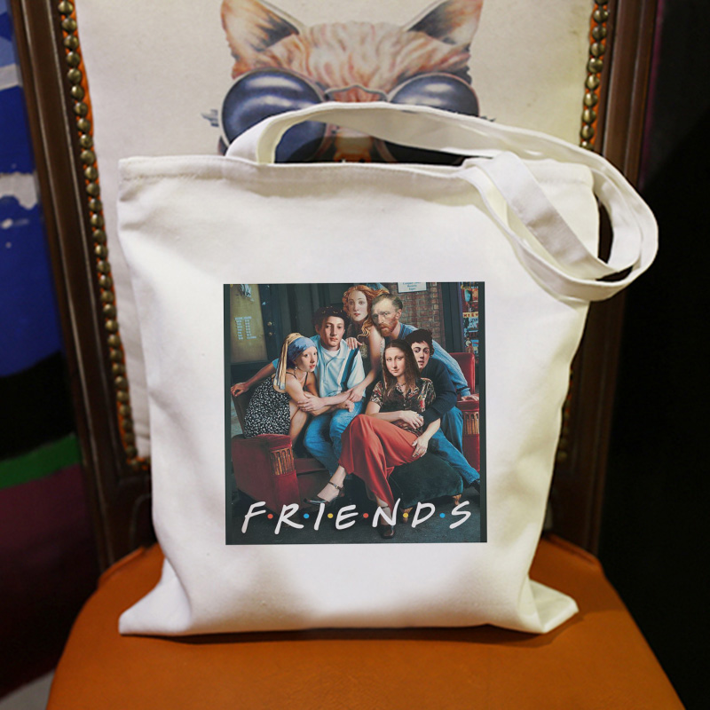 Shoulder Canvas Bags Friends Mona Lisa Van Gogh Handbag 90's Art Funny Backpack Harajuku Casual Women Bag Ulzzang Hip Hop Wallet
